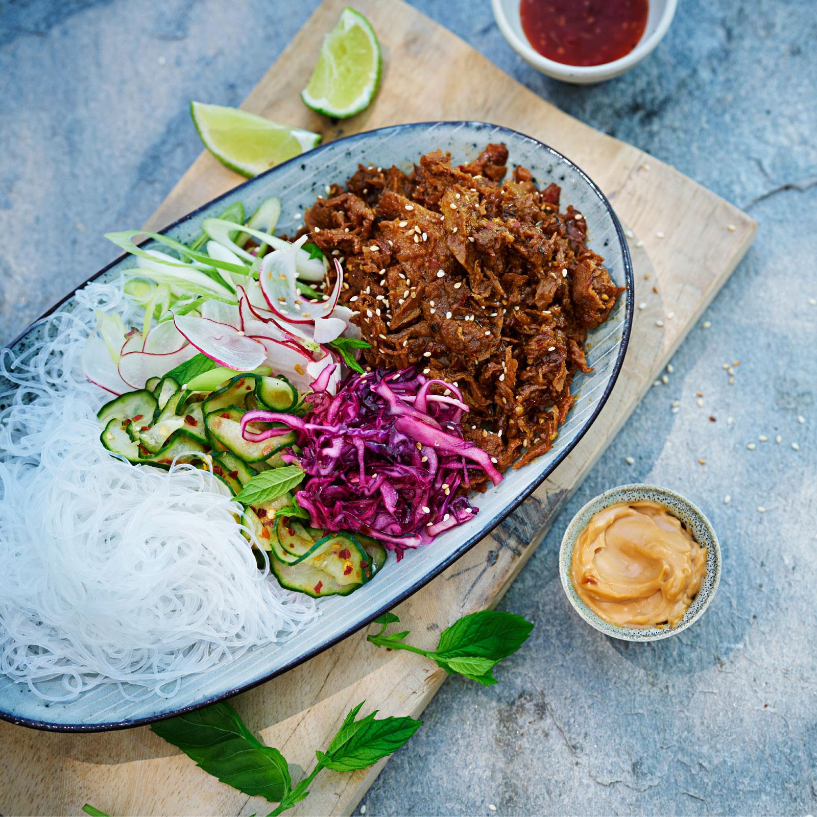 glasnudlar koriander chili lime