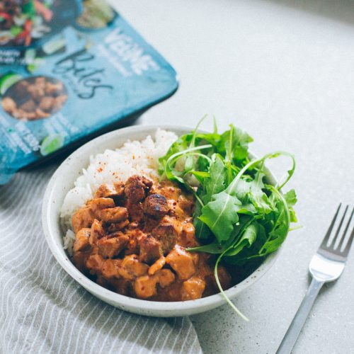 Bild på VegMes stroganoff - pulled, ris och sallad